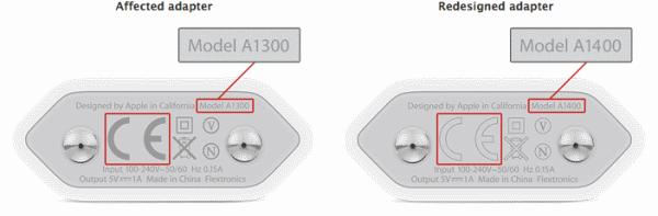 """Номерът на зарядното е A1300 и включва инициалите """"CE"""" в сив цвят."""