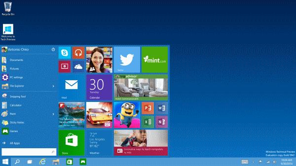 Start менюто се завръща в Windows 10