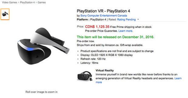 Канадският Amazon издаде цената на Sony PlayStation VR